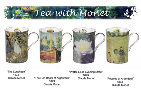 4 Piece Claude Monet Design Mugs
