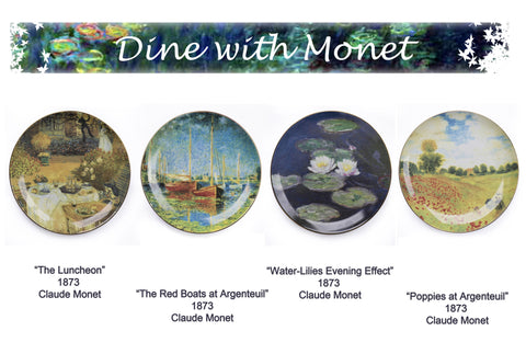 4 Piece Claude Monet Design Plates