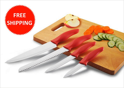4 Piece Red Ceramic Knife Set with White Ceramic Coated Blades