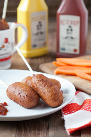 "Thursday Lunch - 4/22: Paleo ""Corn"" Dogs with Rosemary Ketchup, Spicy Brown Mustard, and Sweet Potato Bacon Salad (Paleo, GF)"