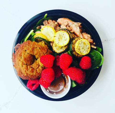 Tuesday Lunch - 11/26: Salmon Salad Power Bowl with Greens, Summer Squash, Raspberries, Balsamic Glaze, Fresh Thyme, & our Famous Zucchini Muffin (Paleo, GF)