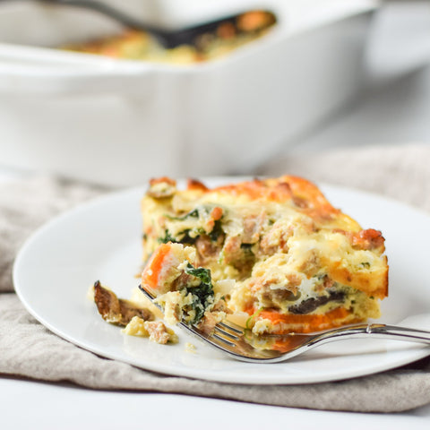 The Weekly Breakfast: Sausage, Egg & Cheese Breakfast Casserole with Butternut Squash Crust (Paleo, GF, SugarNix, Keto & Classic, GF, Keto Options)