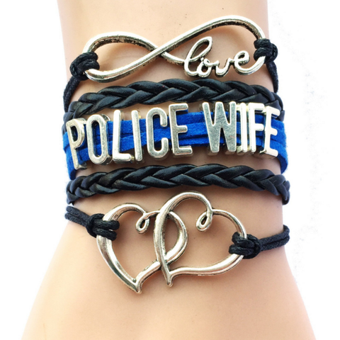 Law Enforcement - Police Wife Bracelet with 2 Hearts