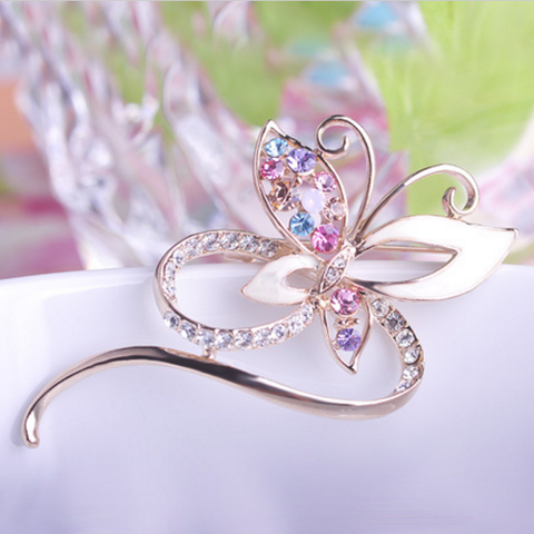 E. Moms - Butterfly Brooch (Gold and White)