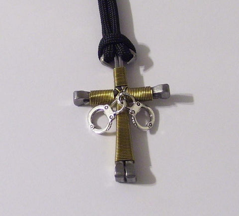 Law Enforcement Dispatcher Nail Cross Necklace With Handcuffs Charm