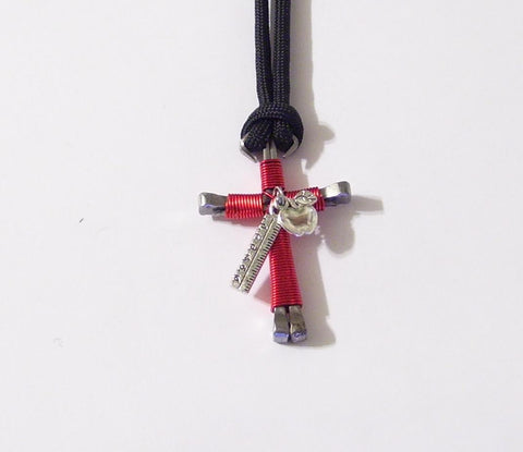 Teacher Nail Cross Necklace With Ruler and Apple Charms