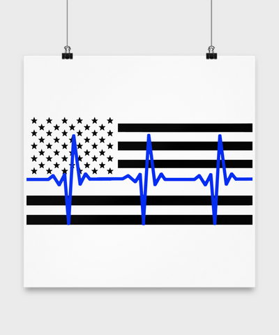 Law Enforcement - Thin Blue Lifeline Flag - Poster