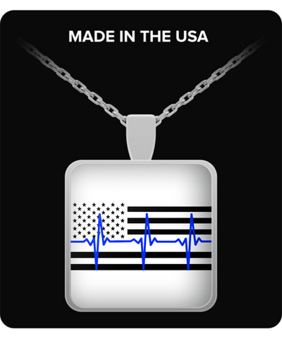 Law Enforcement - Thin Blue Lifeline Flag - Necklace