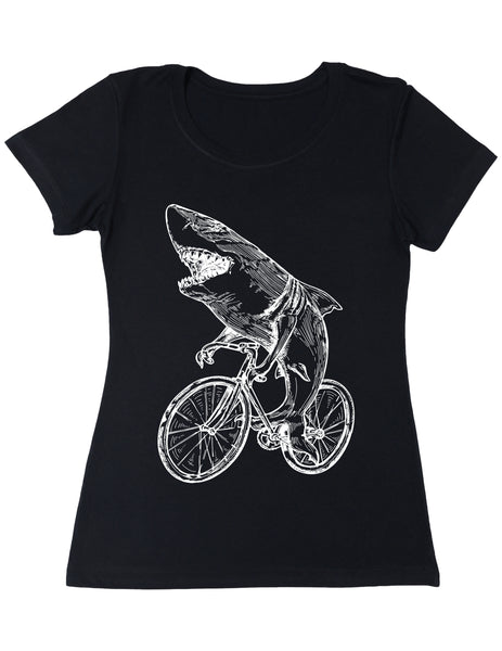 SEEMBO Shark Cycling Bicycle Women's Poly-Cotton T-Shirt