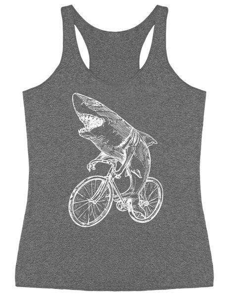 SEEMBO Shark On A Bicycle Women's Tri-Blend Tank Top