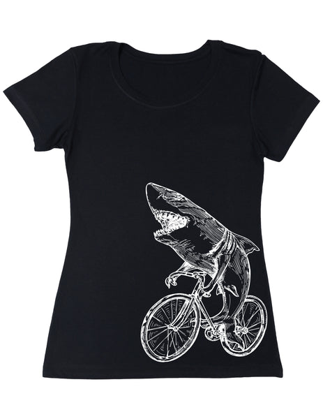 SEEMBO Shark On A Bicycle Women's Poly-Cotton T-Shirt Side Print
