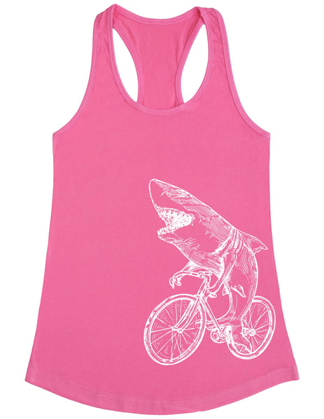 SEEMBO Shark Cycling Bicycle Women's Poly-Cotton Tank Top Side Print