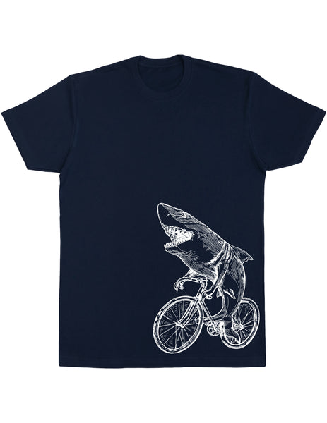 SEEMBO Shark On A Bicycle Men's Cotton T-Shirt Side Print