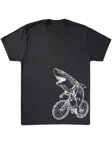 SEEMBO Shark Cycling Bicycle Men's Tri-Blend T-Shirt Side Print