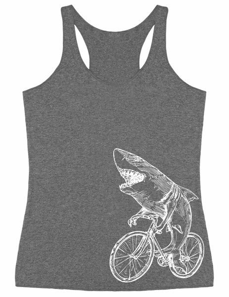 SEEMBO Shark Cycling Bicycle Women's Tri-Blend Tank Top Side Print