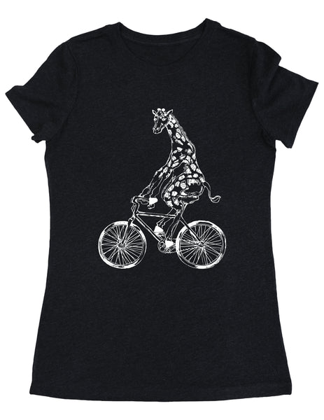 SEEMBO Giraffe Cycling Bicycle Women's Tri-Blend T-Shirt