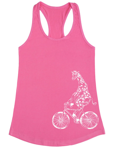 SEEMBO Giraffe Cycling Bicycle Women's Poly-Cotton Tank Top Side Print
