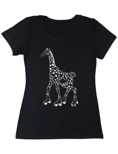 SEEMBO Giraffe On A Roller Skates Women's Poly-Cotton T-Shirt