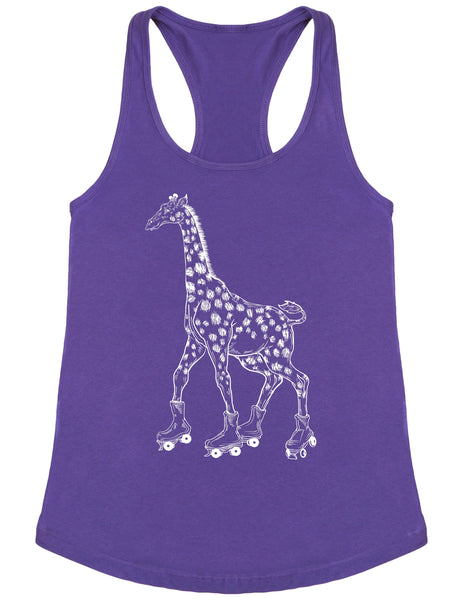 SEEMBO Giraffe On A Roller Skates Women's Poly-Cotton Tank Top