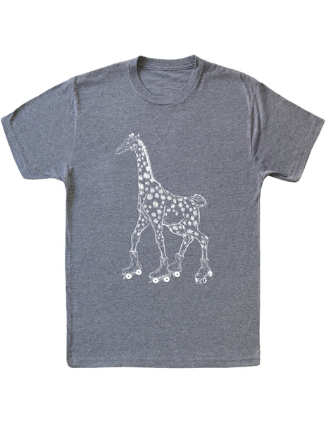 SEEMBO Giraffe On A Roller Skates Men's Tri-Blend T-Shirt