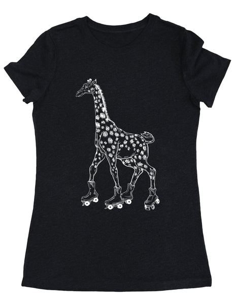 SEEMBO Giraffe On A Roller Skates Women's Tri-Blend T-Shirt