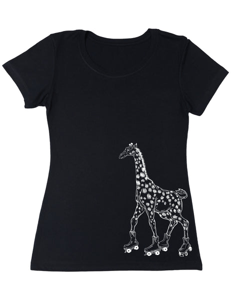 SEEMBO Giraffe On A Roller Skates Women's Poly-Cotton T-Shirt Side Print