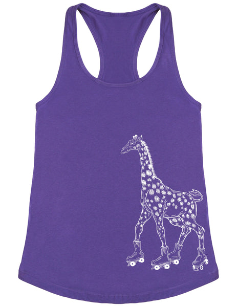 SEEMBO Giraffe On A Roller Skates Women's Poly-Cotton Tank Top Side Print