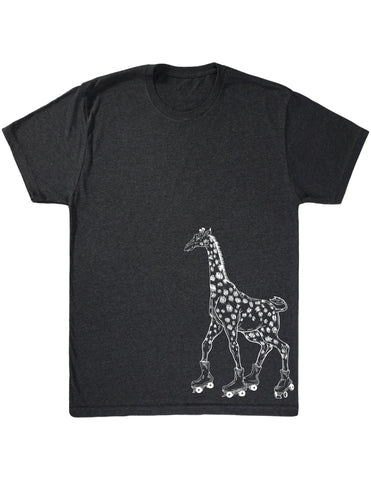 SEEMBO Giraffe On A Roller Skates Men's Tri-Blend T-Shirt Side Print