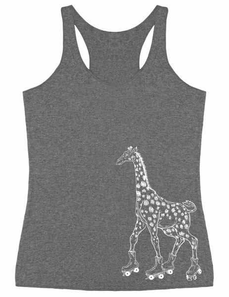 SEEMBO Giraffe On A Roller Skates Women's Tri-Blend Tank Top Side Print