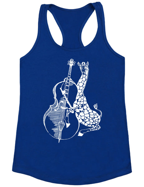 SEEMBO Giraffe Playing Cello Women's Poly-Cotton Tank Top
