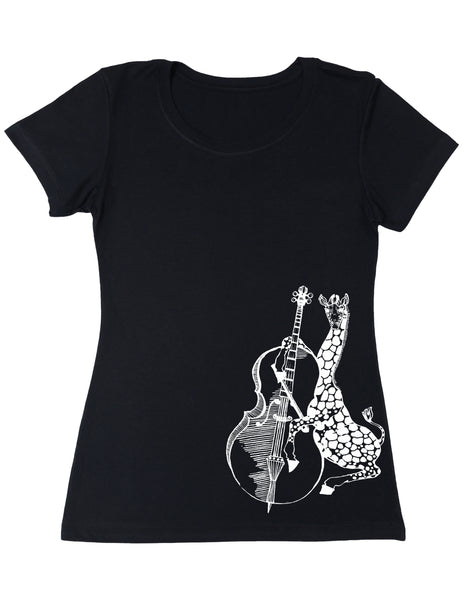 SEEMBO Giraffe Playing Cello Women's Poly-Cotton T-Shirt Side Print