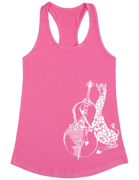 SEEMBO Giraffe Playing Cello Women's Poly-Cotton Tank Top Side Print