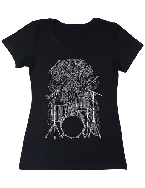 SEEMBO Jellyfish Playing Drums Women's Poly-Cotton T-Shirt