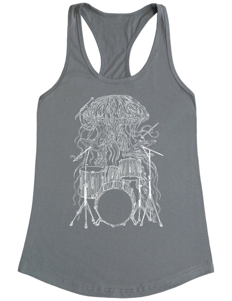 SEEMBO Jellyfish Playing Drums Women's Poly-Cotton Tank Top