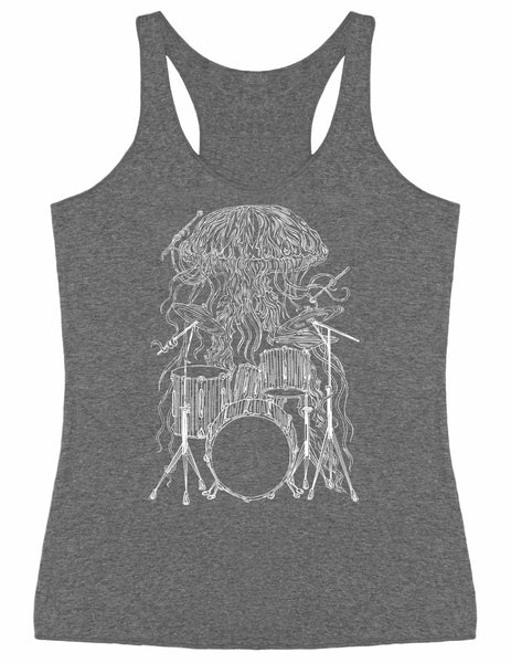 SEEMBO Jellyfish Playing Drums Women's Tri-Blend Tank Top