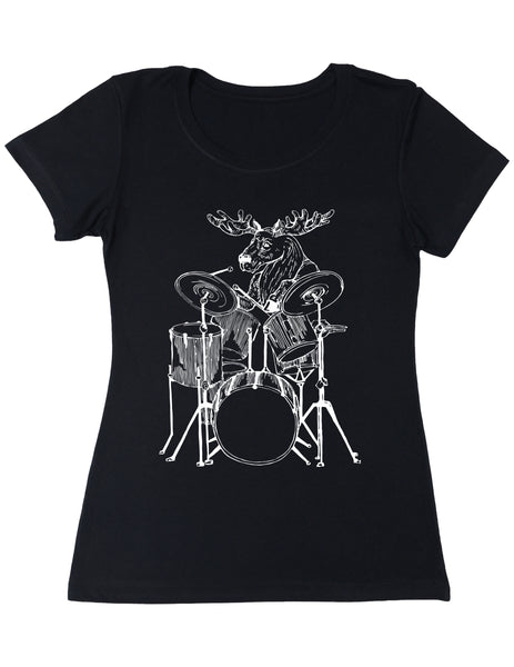 SEEMBO Moose Playing Drums Women's Poly-Cotton T-Shirt