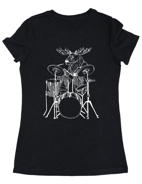 SEEMBO Moose Playing Drums Women's Tri-Blend T-Shirt