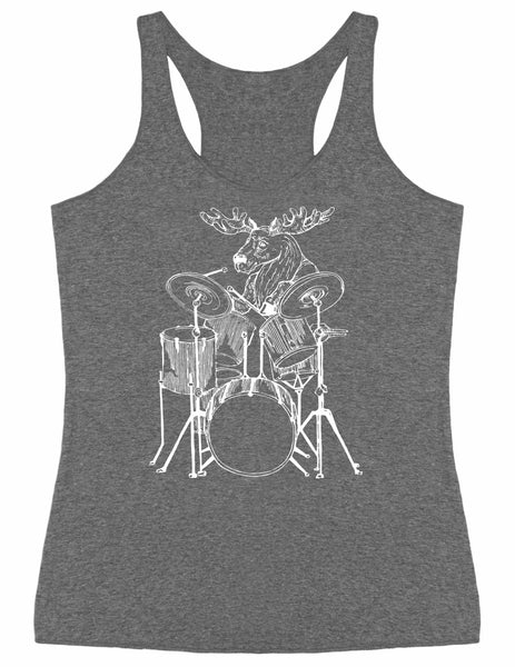 SEEMBO Moose Playing Drums Women's Tri-Blend Tank Top