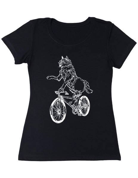 SEEMBO Wolf Cycling Bicycle Women's Poly-Cotton T-Shirt