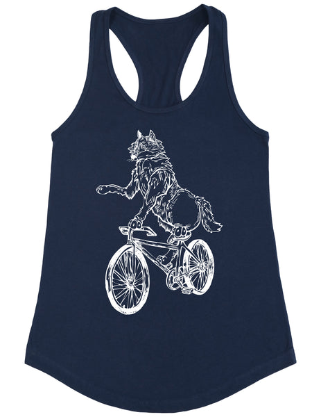 SEEMBO Wolf Cycling Bicycle Women's Poly-Cotton Tank Top