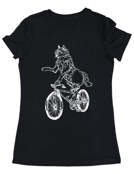 SEEMBO Wolf Cycling Bicycle Women's Tri-Blend T-Shirt
