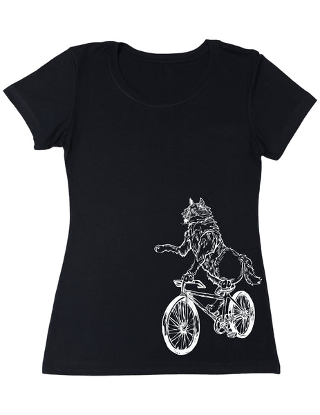 SEEMBO Wolf Cycling Bicycle Women's Poly-Cotton T-Shirt Side Print