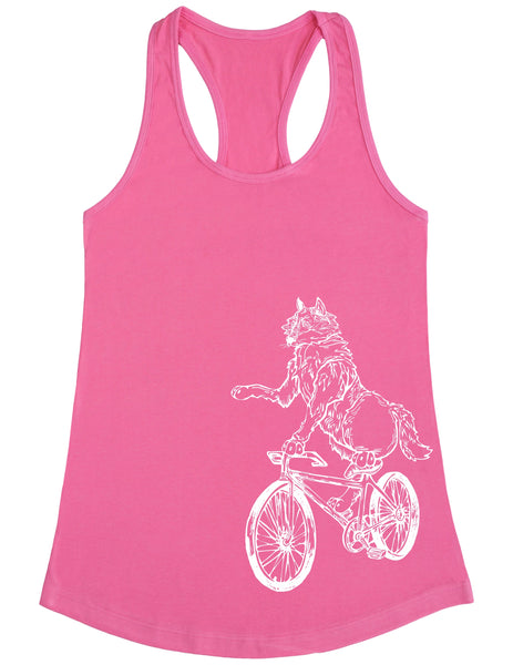 SEEMBO Wolf Cycling Bicycle Women's Poly-Cotton Tank Top Side Print