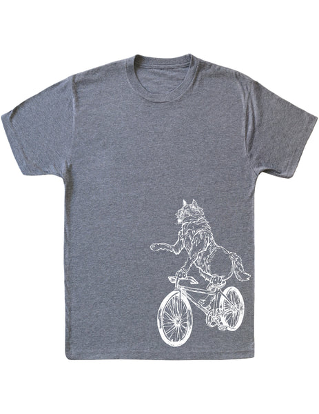 SEEMBO Wolf Cycling Bicycle Men's Tri-Blend T-Shirt Side Print