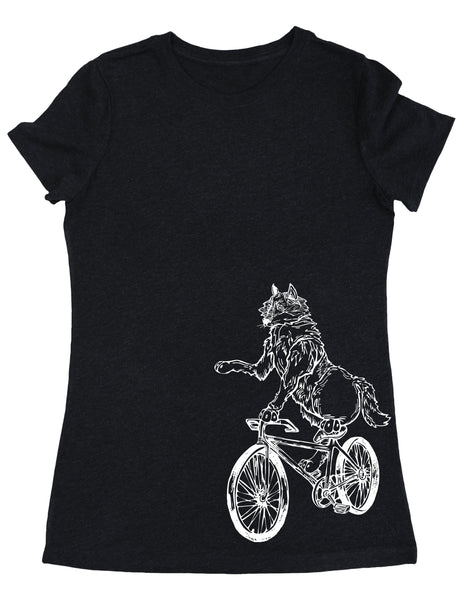 SEEMBO Wolf Cycling Bicycle Women's Tri-Blend T-Shirt Side Print