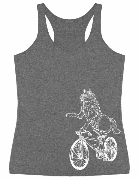SEEMBO Wolf On A Bicycle Women's Tri-Blend Tank Top Side Print