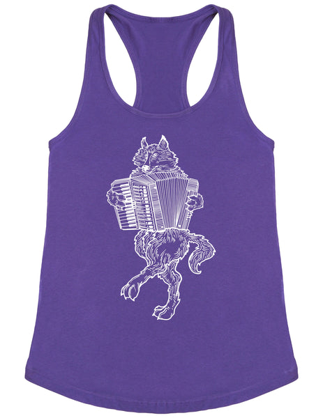 SEEMBO Wolf Playing Accordion Women's Poly-Cotton Tank Top