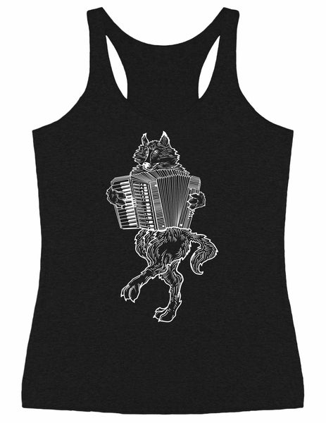 SEEMBO Wolf Playing Accordion Women's Tri-Blend Tank Top