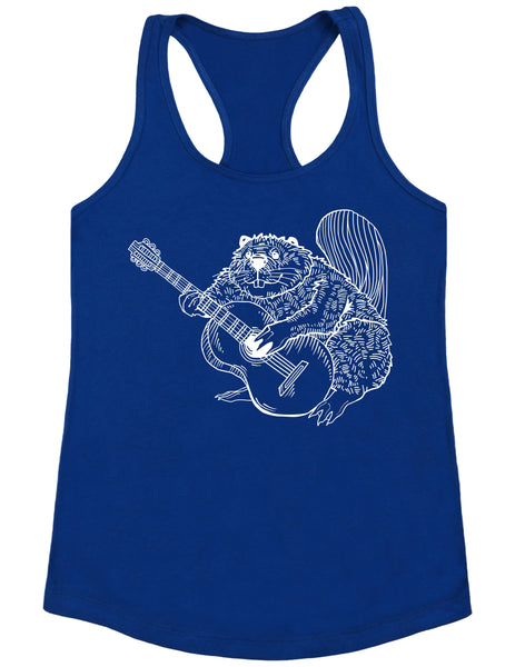 SEEMBO Beaver Playing Guitar Women's Poly-Cotton Tank Top