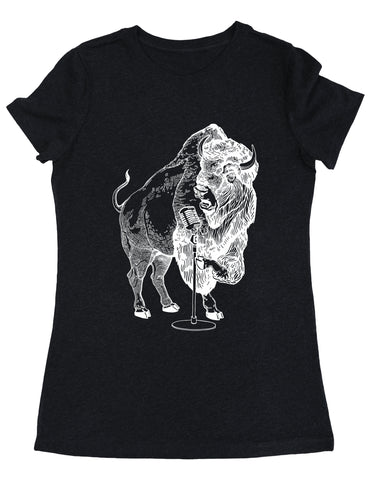 SEEMBO Bison Trying To Sing Women's Tri-Blend T-Shirt